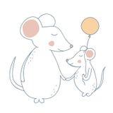 老鼠母亲和孩子 免版税库存图片