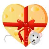老鼠用以心脏的形式乳酪 免版税图库摄影