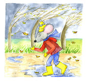 老鼠的例证在秋天 免版税库存图片