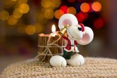 老鼠的圣诞节小雕象 库存照片