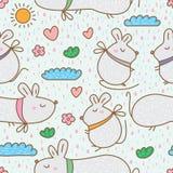 老鼠肥胖逗人喜爱的无缝的样式 免版税库存图片