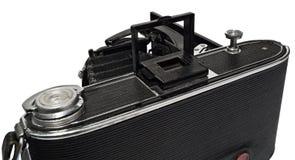老,古色古香,黑,袖珍照相机,反光镜的特写镜头 图库摄影