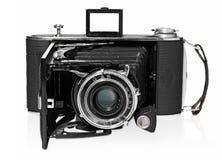 老,古色古香,黑,袖珍照相机,正面图 库存照片