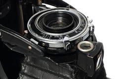 老,古色古香,黑,袖珍照相机,透镜的特写镜头 库存图片