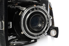 老,古色古香,黑,袖珍照相机,透镜的特写镜头 免版税库存图片