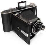 老,古色古香,黑,袖珍照相机,从上面观看得有一个角度 免版税库存图片