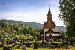 老,木梯级教会在挪威 库存图片