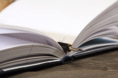 老,第二手,与羽毛的笔杆在一个开放笔记本说谎 特写镜头 在笔的技巧的锋利 免版税库存照片
