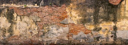 老,粉碎,砖墙在乔治城,槟榔岛,马来西亚 库存图片