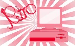 老,葡萄酒,减速火箭,行家,古董,迪斯科,桃红色,有磁盘的明亮,美丽的女性计算机在桃红色梯度背景  免版税库存照片