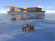 老水下的矿和货船在海 向量例证
