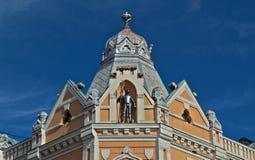 老19世纪上面恢复了与骑士装甲的大厦在中部 图库摄影