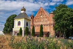 老15世纪圣迈克尔教会在Synkovichi村庄,哥罗德诺地区,白俄罗斯 我 库存照片