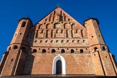 老15世纪圣迈克尔教会在Synkovichy,哥罗德诺地区 迟来的 免版税图库摄影