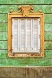 老巴洛克式的窗口 库存照片