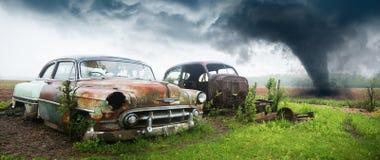 老经典汽车,垃圾场 库存照片