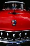 老经典红色汽车入口细节 库存照片
