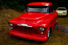 老经典红色汽车入口细节 图库摄影