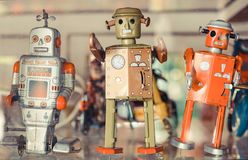 老经典罐子玩具机器人 图库摄影