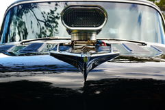 老经典黑汽车入口细节 库存照片