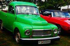 老经典绿色汽车入口细节 图库摄影