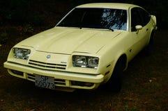 老经典黄色汽车入口细节 免版税图库摄影