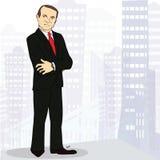 老练和确信的商人在大城市 免版税库存照片