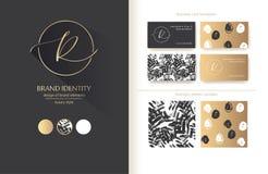老练品牌身份 信件R线商标 包括的名片模板 向量例证
