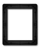 老黑在白色的框架装饰被雕刻的木头 库存照片