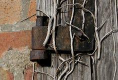 老织地不很细木头和螺栓在一个老棚子 库存图片