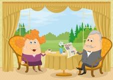老绅士和夫人饮用的咖啡 向量例证