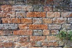 老维多利亚女王时代的红砖墙壁特写镜头 库存图片