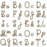老绳索字母表从a到t 库存照片