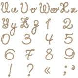 老绳索字母表从u到z 免版税库存图片