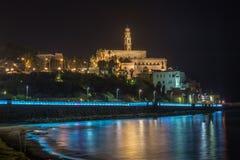 老贾法角在晚上。全景以色列 图库摄影