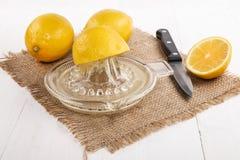 老玻璃柠檬剥削者用新鲜的健康,酸汁液 库存照片