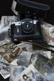 老黑白和乌贼属照片 葡萄酒 免版税库存照片