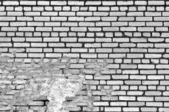 老黑白被风化的砖墙纹理 库存照片