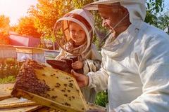 老练的蜂农祖父教他的关心对蜂的孙子 养蜂 经验调动  图库摄影