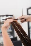 老练的年轻美发师做理发 库存照片
