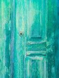 老绿色木门在Obidos,葡萄牙 免版税图库摄影
