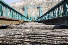 老绿色火车桥梁 库存照片