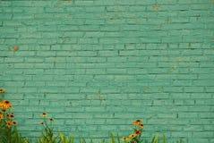 老绿色砖墙和装饰花 免版税库存照片