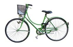 老绿色自行车丝毫篮子 库存照片