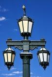 老绿色街灯和鹦鹉 库存照片