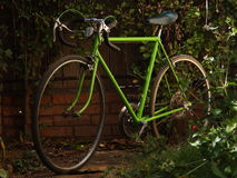 老绿色路自行车 库存照片