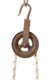 老滑轮,新的绳索 免版税图库摄影