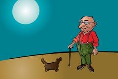 老年迈的人用棍子和狗 免版税库存照片