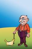 老年迈的人用棍子和狗 图库摄影