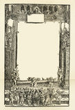 老年迈的脏的书纸板料页小插图,框架背景拷贝空间 库存图片